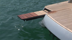 Wooden platform on luxury yacht Stock Footage