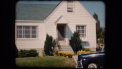 Old home movie film house and a car 1950s Stock Footage