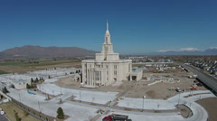 Aerial Mormon Temple under construction Payson Utah HD 0019 Stock Footage