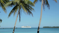 Cruise ship in bay, palm trees wave in wind on tropical island, isle of pines Stock Footage