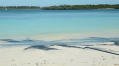 Water laps shore of tropical island sand beach, isle of pines, new caledonia Stock Footage