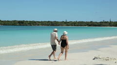 Senior couple walking along tropical beach, isle of pines, new caledonia Stock Footage