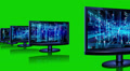 Abstract technological backgrounds on screens of monitors HD Footage