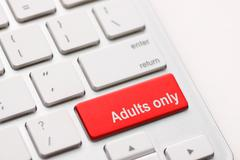 Adults only message on enter key Stock Photos