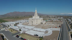 Aerial Payson Utah Mormon LDS Temple construction HD 0033 Stock Footage