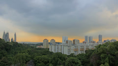 Planned Public Housing Apartments and Buildings in Singapore at Sunset 1080p Stock Footage