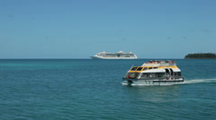 Cruise ship tourists take tender to shore, isle of pines, new caledonia Stock Footage