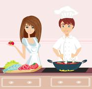Couple cooking dinner Stock Illustration