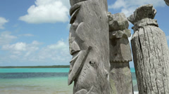 St maurice bay wood carving, isle of pines, new caledonia Stock Footage