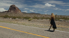 Walking on Route 66 Stock Footage