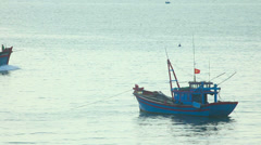Fishing vessel coming back to port Stock Footage
