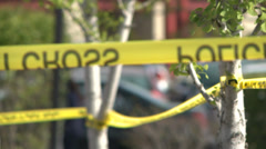POLICE CSI CRIME SCENE POLICE TAPE EVIDENCE MARKERS HIGH DEFINITION 1080 HD Stock Footage