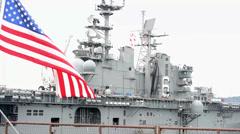 USS Bonhomme Richard Departs Sasebo Stock Footage