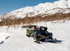 Snowmobile. kamchatka, far east, russia Stock Photos