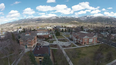 Aerial Snow College campus Ephraim Utah HD 0048 Stock Footage