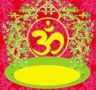 Om aum symbol on a red background Stock Illustration