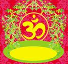 Stock Illustration of om aum symbol on a red background