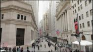 Stock Video Footage of Wall Street wide tilt down 4k NYSE