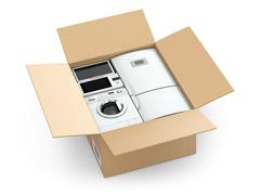 Home appliance in box. Stock Illustration