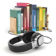 audiobook concept. headphones and books - stock illustration