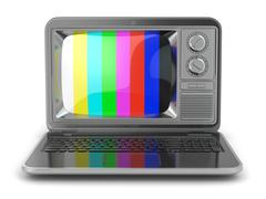 Online tv. laptop with old-fashioned tv screen. Stock Illustration