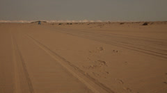 Jeep in the sand of the desert, Egypt Stock Footage