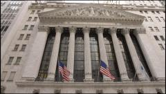Wall Street wide tilt up 4k NYSE Stock Footage