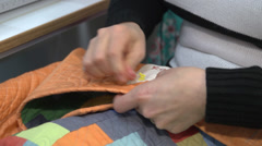 Sewing hands Stock Footage