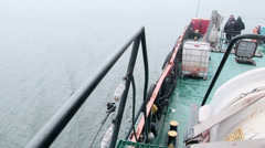 Aft deck of commercial fishing boat Stock Footage