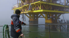 Offshore gas production platform Stock Footage