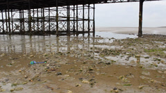 View Along Sandy, Stoney Beach With The Underneath Of Wooden The Pier - stock footage
