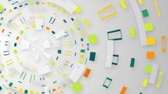 multicolored techno circular segments loop background - stock footage