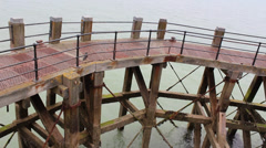 Old Wooden Pier In The Sea - stock footage