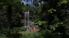 People in paradise looking at waterfall Stock Footage