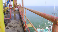 Offshore gas and oil production platform - stock footage