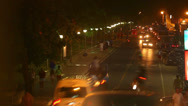 Stock Video Footage of View of busy street at night. Time-lapse