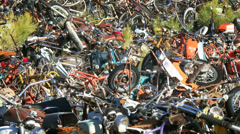 4K Motorcycle and Bike Junkyard, sold for scrap Stock Footage