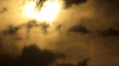 Sun rays spot on cloudscape Stock Footage