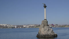 Russian flag on Sunken Ships Monument in Sevastopol Stock Footage