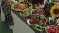 Stock Video Footage of Antipasto catering platter with different meat