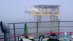 Natural gas extraction in offshore area Stock Footage