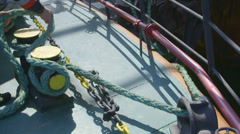 Ship moored to offshore gas production platform Stock Footage