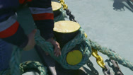 Stock Video Footage of Men hands moored vessel