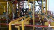 Stock Video Footage of Offshore gas and oil production platform processing system