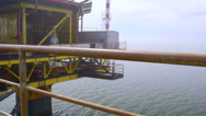 Stock Video Footage of Offshore gas production platform processing equipment