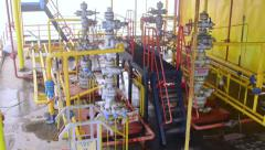 Offshore gas and oil production platform equipment - stock footage