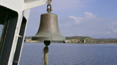Ship bell on deck of commercial fishing boat Stock Footage