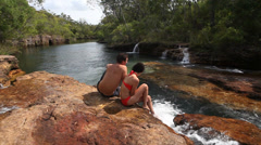 Couple relaxing in nature Stock Footage