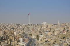the city of amman, as seen from the citadel complex. - stock photo