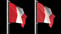 Peru flags loop pack 3 in 1 with background and loop 7sec - stock footage